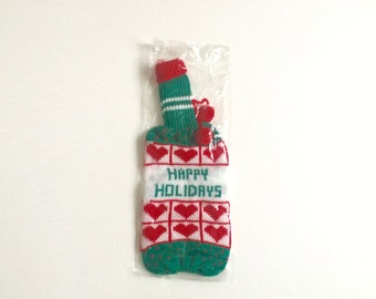 Vintage 1970s Wine Bottle Cover / Wine Sleeve / Knit / Pom Pom / New Old Stock / NOS / Deadstock / Happy Holidays / Hipster Christmas