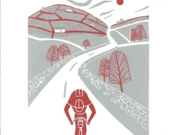 Tour de France - Gray Original Linocut - Cyclist Gift - Yorkshire Cycling - Bike, Contemporary Bicycle Art - Hand Pulled Print ,Printmaking