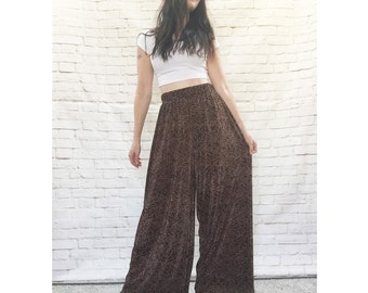 Vintage 90s Palazzo Pants Paisley High Waist Wide Leg Brown Gold Pleated S M