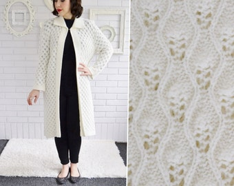 Vintage Long Knit Sweater Jacket in Cream by Wintuk Size Small or Medium