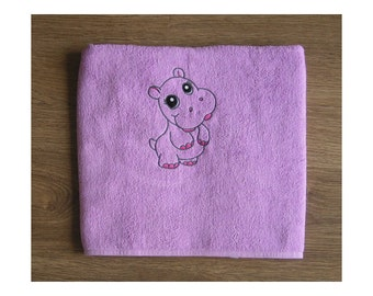 Hippo - Embroidered bath towel