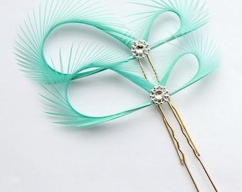 Jade Hair Pins, Green Hair Accessories, Bridal Fascinators, Bridal Party, Bridesmaids Gift, Maid of Honor, Jade Green Hair Pins