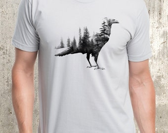 Blackbird & Forest Double Exposure T-Shirt - Men's Screen Printed T-Shirt
