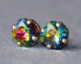 RARE Swarovski Vitrail Medium Dark Jewel Rainbow Cushion Earrings,Petite Small Cushion Stud,Jewel Toned Rainbow,Crystal Post,Antique Brass