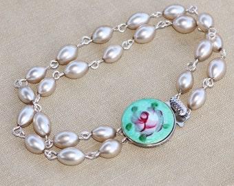 Stunning Vintage Guilloche Enamel & Pearl Bracelet,Mint Aqua Guilloche Enamel Clasp,Rosary Style,Ivory Champagne Pearl,Weddings,Bridal,Gift
