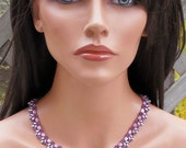 Beadwork Necklace - Mauve Pink Silver Amethyst- 18 Inch Beaded Collar Necklace - Seed Bead - Celtic Gift For Her - Scalloped Edge