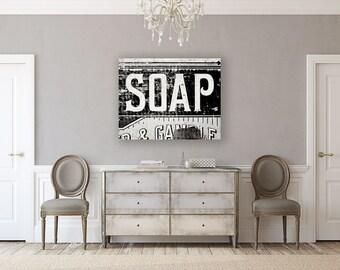 Canvas Wall Art: Canvas Wall Art, Black and White Photography, Bathroom Decor, Laundry Room Decor, Nursery Decor, Vintage Soap Crate.