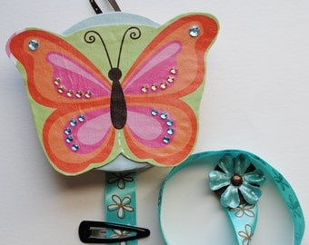 Butterfly Barrette Organizer made from upcycled materials
