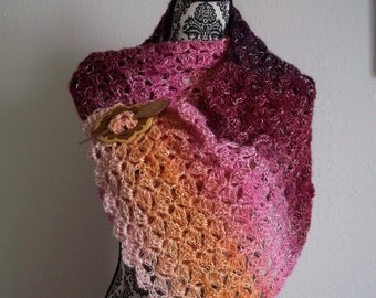 crocheted open work shawl wrap ~ ombre ~