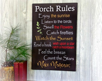 Porch Rules Sign - Porch Rules Wood Sign - Canvas on Wood Porch Rules Sign - Wood Sign Porch Rules - Porch Decor - Porch Sign