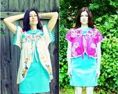 custom for LILY upcycled mexican dress boho gypsy jacket and kimono