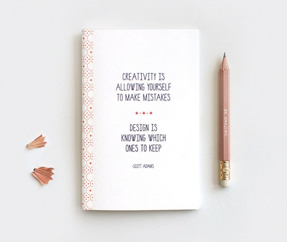 Back to School Inspirational Recycled Notebook with Pencil, Mini Large Midori Insert - Typography Quote, Creativity - Gift for Designers