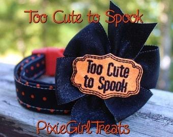 Halloween Dog Collar, Polka Dot Dog Collar, Orange Dog Collar, Dog Collar with Bow, Halloween Martingale, Cute Dog Collar, Girl Dog Collar