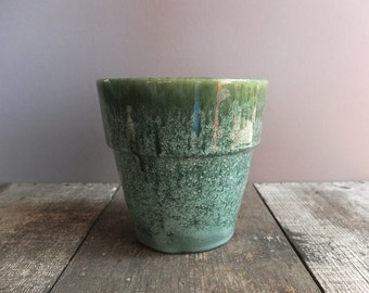 Vintage Mid Century Green & Blue Flower Pot / Green Planter / 1960s Decor