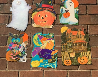 6 vintage Norcross Halloween diecuts - 1970s pumpkins, ghosts, haunted house, witches, black cats - sweet and not so scary