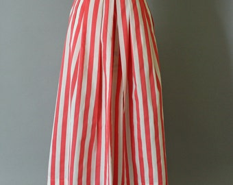 1980s summer striped skirt - vintage Color Me Beautiful ballerina length skirt - size XS-S - flamingo pink and white candy stripes