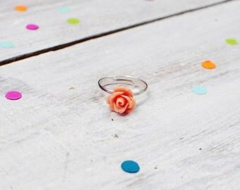 Pink Rose Flower Ring | Adjustable | Nickel Free