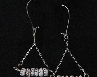 Puka Shell Earrings, Silver Puka Shell Earrings, Shell Earrings, Dangle Earrings, Silver Earrings