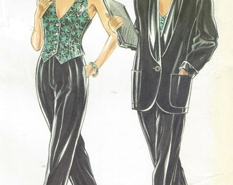 80s Womens Tuxedo Style Jacket, Vest and Pants New Look Sewing Pattern 6958 Size 8 10 12 14 16 18 Bust 31 1/2 to 40 UnCut