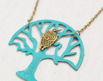 long tree of life necklace, sister gift, owl necklace, family tree necklace, best friend necklace, for grandma, owl jewelry, bridesmaid gift