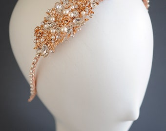 Rose Gold Bridal Headband, Crystal Wedding Headband, Rose Flower Leaf Vine Headband, Swarovski Pearl Cluster Headpiece, Bridal Hairband,ROSA