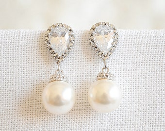 Bridal Earrings, Pearl Drop Earrings, Wedding Earrings, Crystal Bridal Earrings, Rose Gold Earrings, Swarovski Wedding Jewelry, ABELIA