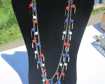 Red, White and Blue Bead Necklace