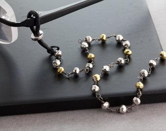 Silver Gold Pyrite Gemstone Eyeglass Necklace, Eyeglass Chain, Glasses Chain, Eyeglass Lanyard, Luxury Eyeglass Chain,Designer Eyewear Chain