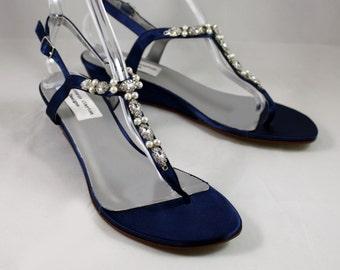 Dark Blue Wedding Shoes Wedge Low heel -- 1 inch heel shoes