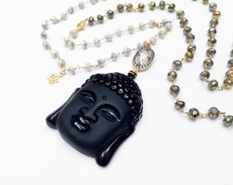 Long Beaded Black Budhha Necklace, Spiritual Ethnic Necklace, Pyrite Beads Necklace 108 Mala Bead Necklace Zen Buddhist Prayer Beads