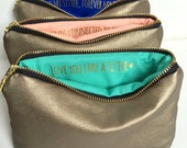 Three Custom Message Makeup Bags // Gold Leather // Personalized Bridesmaid Gifts