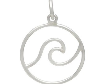 Sterling Silver Wave Pendant