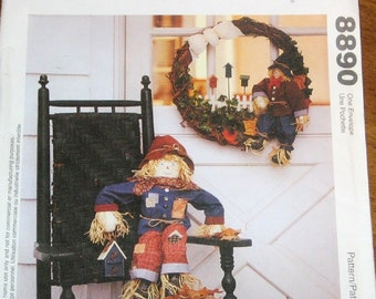 "McCall's 8890 Harvest Door Wreath, Stuffed 30"" Cloth Scarecrow Doll, Halloween Decor Michelle Hains Craft Sewing Pattern Uncut Factory Folds"