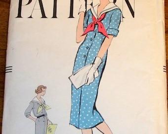 Vogue 9453 Sailor Collar Sacque Dress, Tie Collar, Low Back Belt, Womens Misses Vintage 1950s Sewing Pattern Bust 32 Uncut Factory Folds