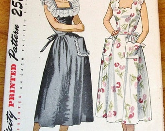 Simplicity 2478 Sundress, Day Dress, Flounce or Scallop Neckline, Women's Misses Vintage 1940 Sewing Pattern Bust 38 Uncut Factory Folds