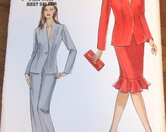 Vogue 8046 VP980 Fitted Jacket, Flounce Skirt, Pants Womens Misses Easy Sewing Pattern Size 16 18 20 22 Bust 38 40 42 44 Uncut Factory Folds