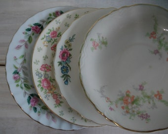 Mismatched China Dessert Plates, China Transferware Plates and Saucers Instant Collection, Pink Floral Wedding Shower China 4 piece set, #06