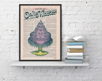 Dictionary Book print -You are the cake master - Kitchen wall Art on Upcycled Dictionary Book - Wall Art Home Decor TYQ021