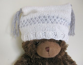 Cotton baby hat white grey hand knitted