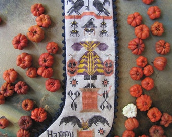 Halloween Stocking : Kathy Barrick counted cross stitch patterns October Autumn harvest embroidery The Cottage Needle