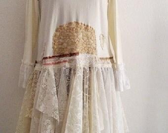 Bohemian Rustic Wedding Dress Made to order Gypsy Mori girls Eco Fashion