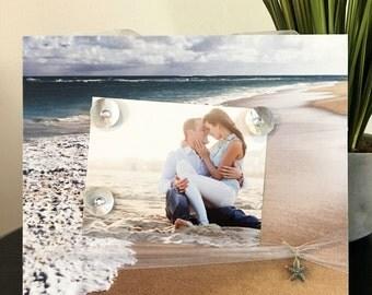 Beach Wedding Ocean Engagement Picture Frame Magnetic Gift Home Decor Photo Honeymoon Beachy Romantic 5 x 7 and 9 x 11 -Sea Foam Beach