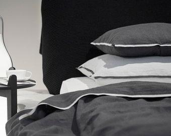 Pillowcase Trimmed linen King pillow slips Queen pillowcases Euro shams Charcoal and dove grey trim Natural linen bedding