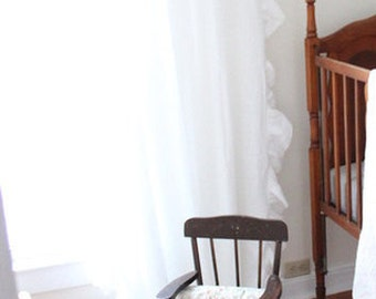 Linen curtain with ruffed edge White or custom color drapes Tab top Unlined or blackout window curtains by Lovely Home Idea