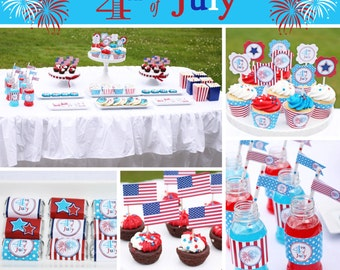 4th fourth of july  PRINTABLE Party Package  red white blue stripes stars #2 INSTANT Download DIY  Sale Sale