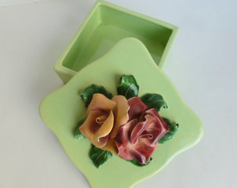 California Pottery Trinket Box with Lid in Mint Green with Handmade Ceramic Roses