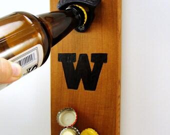 wall mount bottle opener UW Huskies rare earth magnet cap catcher team logo cedar wood