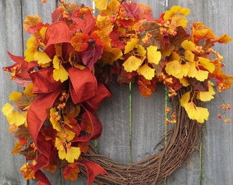 NEW FALL WREATH, Berries and Fall Leaves Wreath, Fall Wreath in Gold, Bittersweet Wreath, Ginkgo Fall Wreath,Thanksgiving Decor, Bright Fall