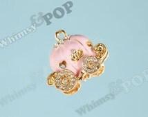 1 - Small Pink Rhinestone Pumpkin Coach Carriage Fairy Tale Charm, 25mm x 30mm (5-2F)