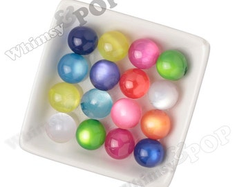 20mm MIXED Cats Eye Gumball Beads, Semi-Opaque Acrylic Round Beads, Bubble Gum Beads, Cat's Eye Beads, Reflective Beads  2.5mm Hole